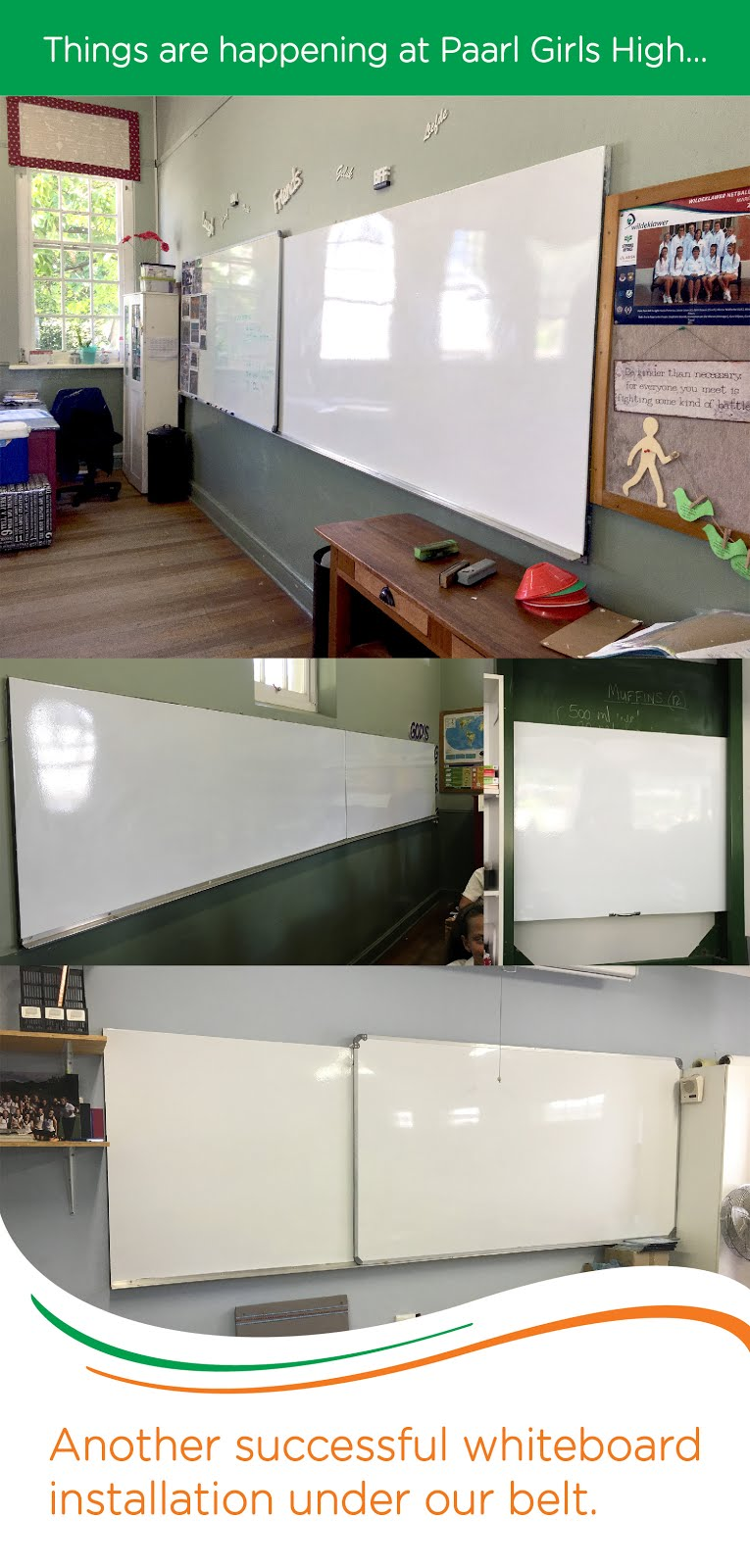 These where old Chalkboards and now they are fantastic NEW whiteboards for half the costs!!!