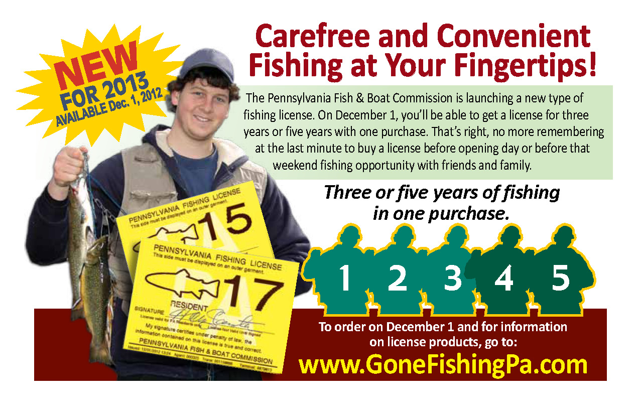 Full o 39 bull gazette 3 and 5 year fishing licenses now for Pa fishing licenses