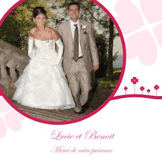 Exemple carte remerciement mariage