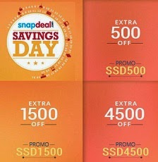 Snapdeal Big Saving Day: Get Rs.4500 Extra Off on Rs.50000 & above | Rs.1500 Extra Off on Rs.20000 & above | Rs.500 Extra Off on Rs.5000 & above (Expired)