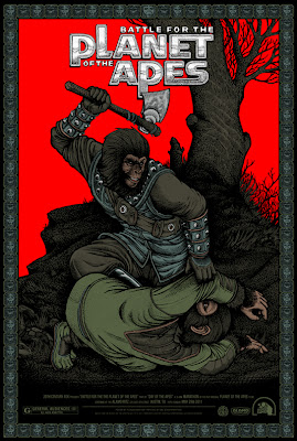 Mondo x Sideshow Collectible Planet of the Apes Screen Print Series - Battle for the Planet of the Apes by Florian Bertmer