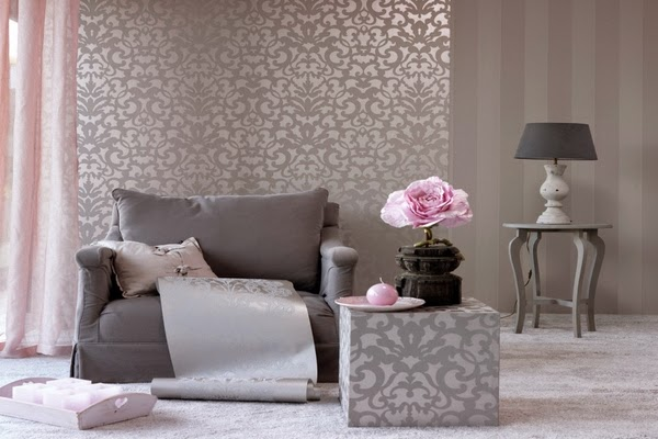 D co salon gris et rose for Deco vieux rose et gris