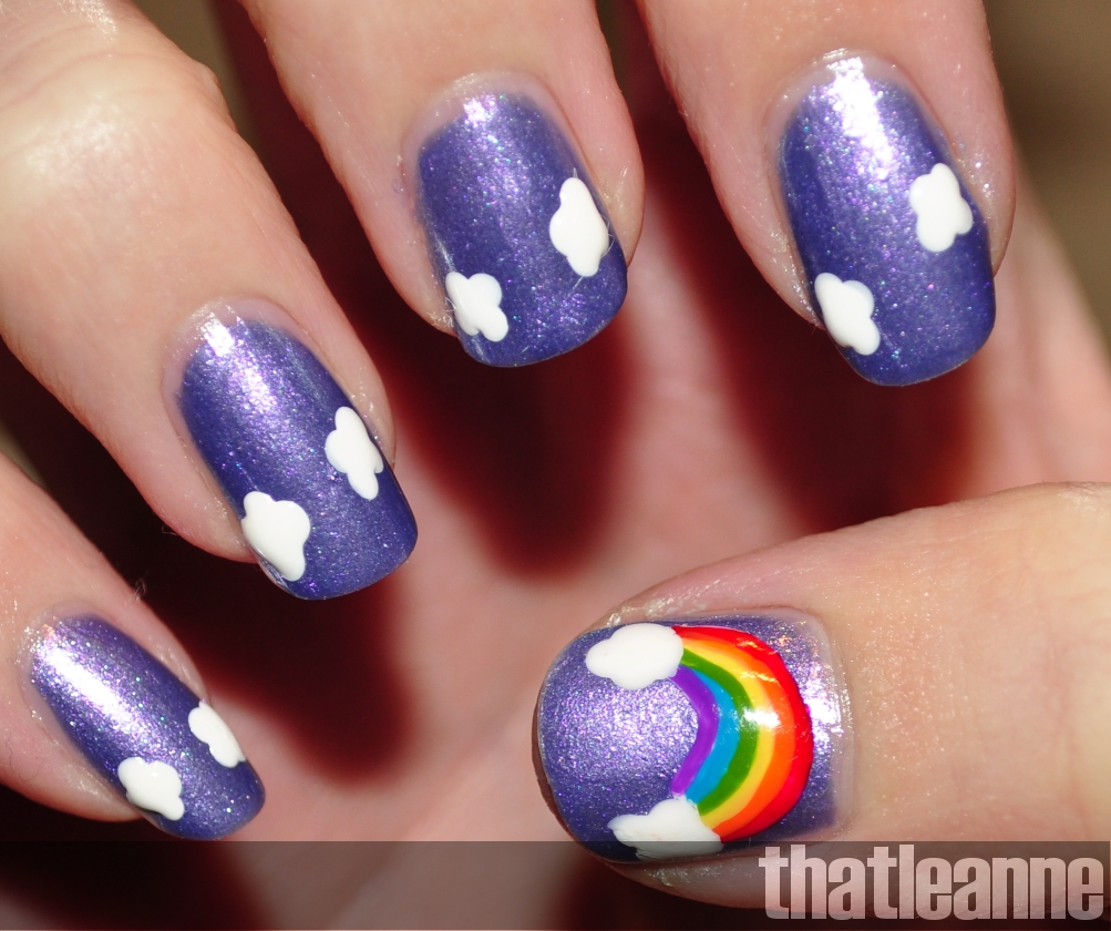 Thatleanne rainbow nail art and revlon scented nail polish so to start off with i took a nail dotter and a white nail polish china glaze snow and dotted 4 times to form a cloud prinsesfo Image collections