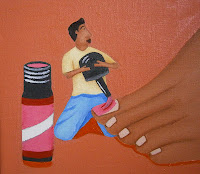 Close up of the painting The Perfect Pedicure by L. E. Gav Thorpe