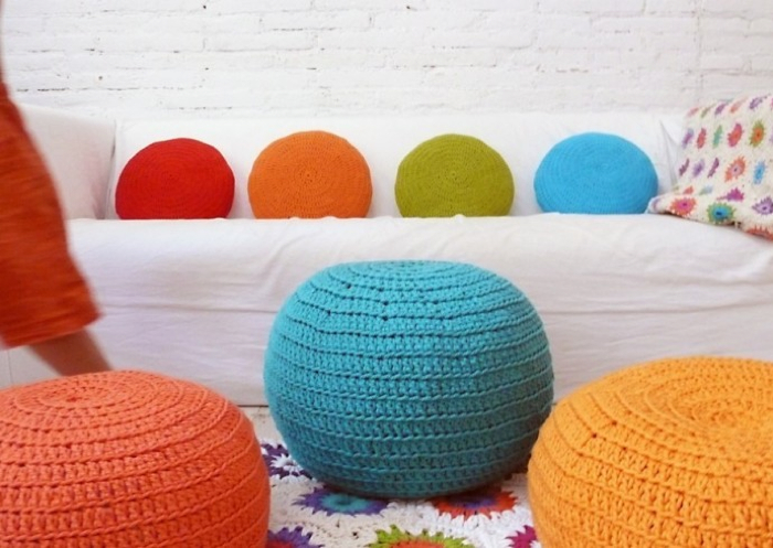 colourful Pouf Crochet and pillows