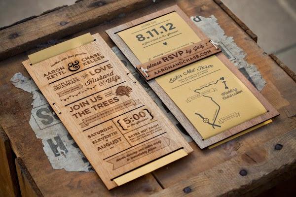 madera tarjeta de invitación