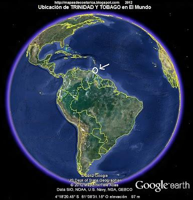 El Mundo. Ubicación de TRINIDAD Y TOBAGO en El Mundo, Google Earth, vista diurna