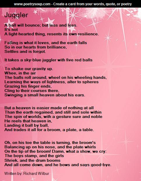 a review of richard wilburs poem juggler