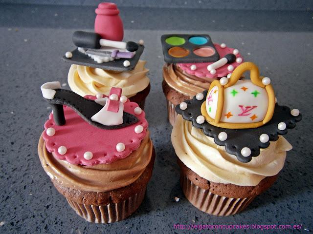 cupcake zapato, cupckes bolso, cupcakes sombras, cupcakes pintauñas