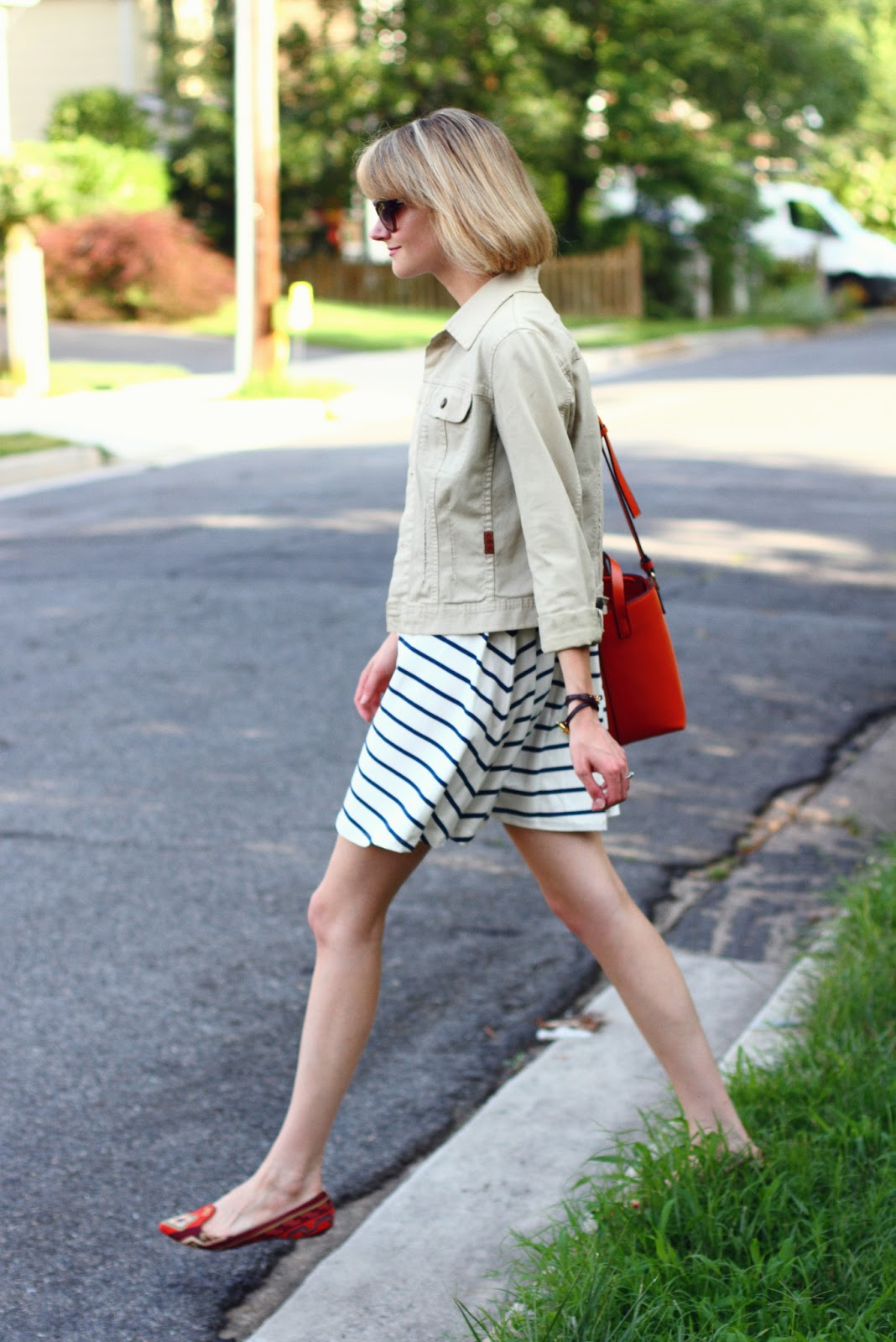jean jacket and striped swing dress