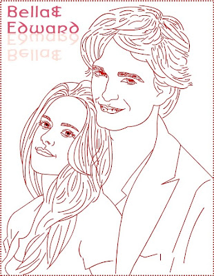 Bella Swan e Edward Cullen para imprimir e colorir