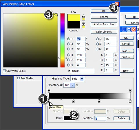 Steps to change color of gradient color stop