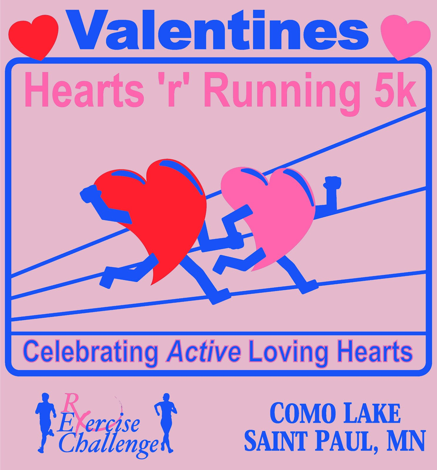 RxExerciseChallenge: Run or Walk 4th Annual Valentines Hearts 'r' Running 5k @ Como Lake, St ...