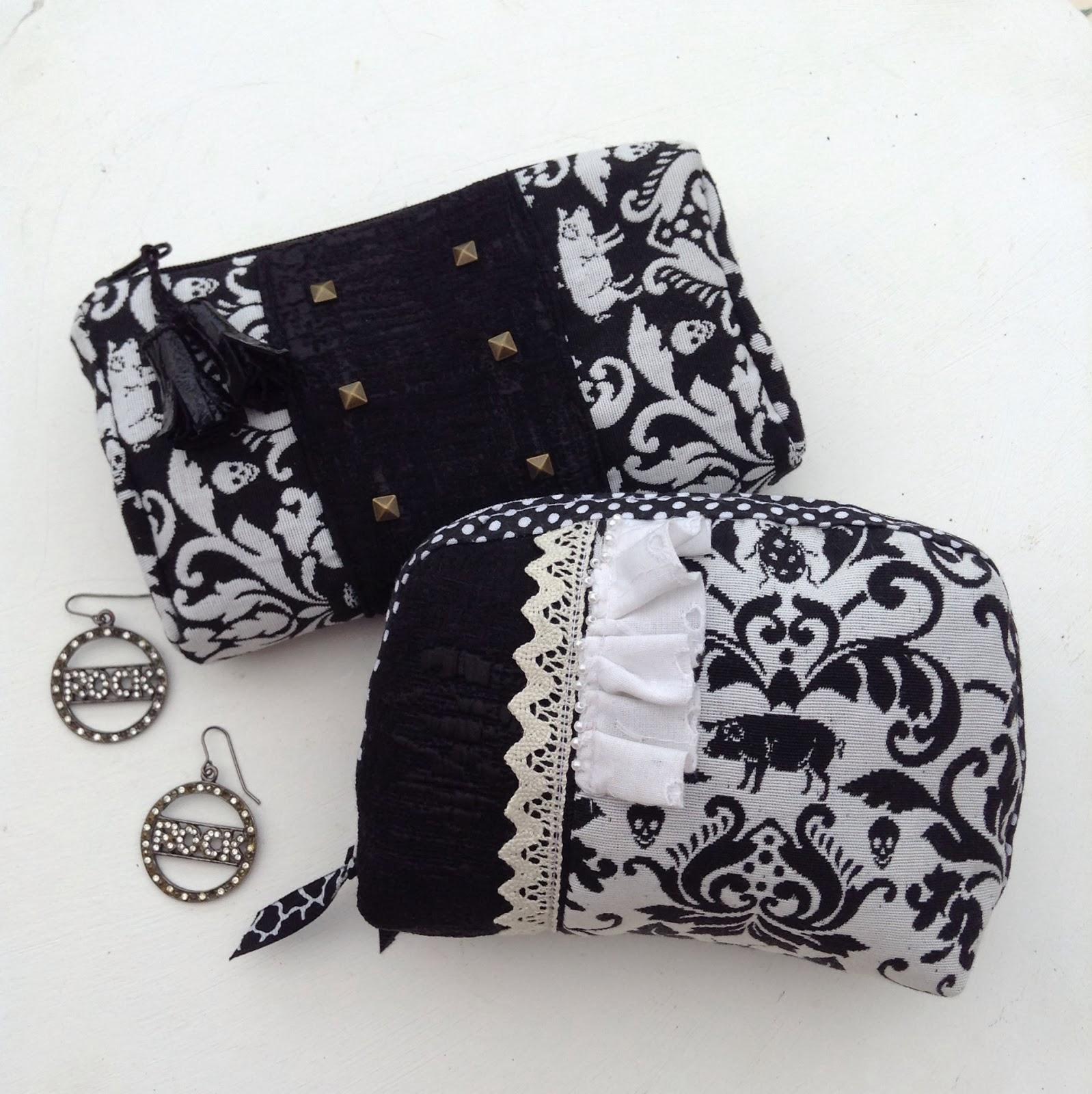 Pochettes en noir et noir tissu ameublement clous dentelle