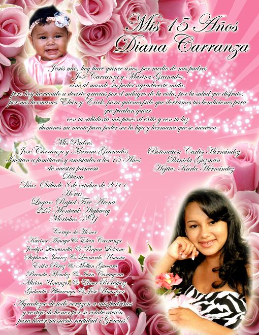 Artes DaVinci: Invitación 15 Años en color rosa con rosas y ...