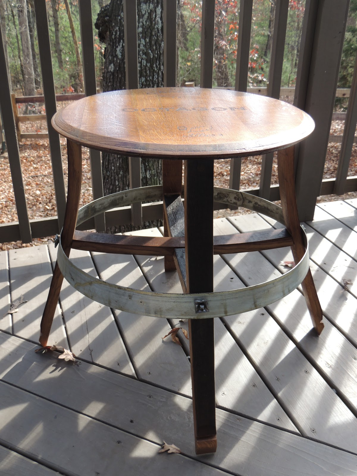 Cork To Barrel Oak Wine Barrel End Table with Ring