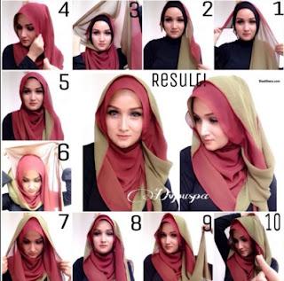 Inilah Tutorial Jilbab Pashmina Dua Warna