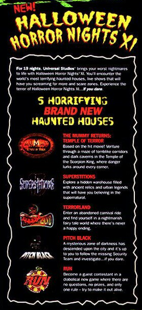 halloween horror nights xi featured three scarezones and five houses scary tales run superstitions pitch black and the mummy returns the curse