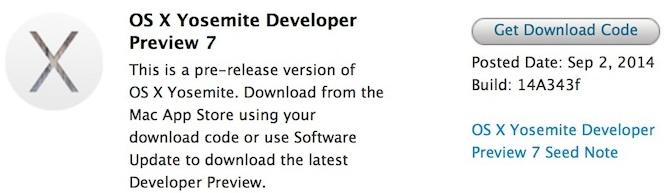 OS X Yosemite 10.10 Developer Preview 7 (DP7) (Build 14A343f)
