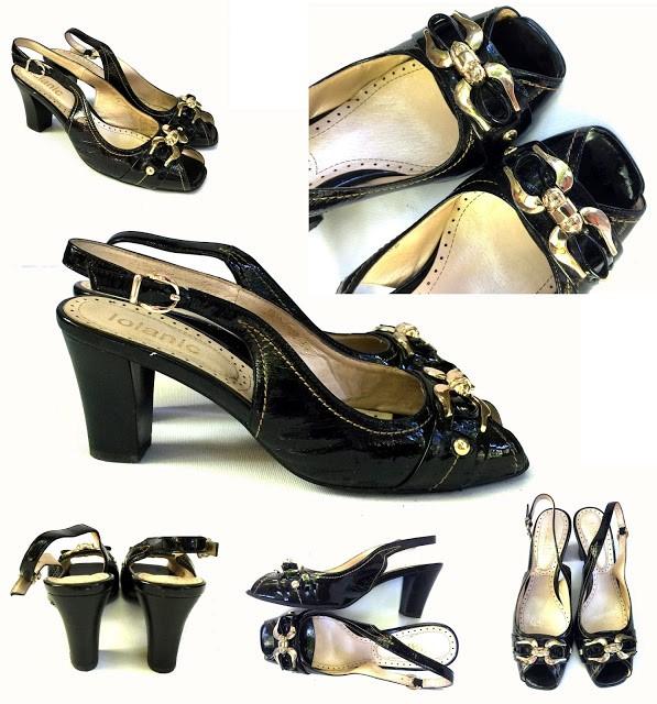 PRET REDUS!-LOLANIC-Sandale negre din piele naturală, cu accesorii aurii elegante, mărimea 39