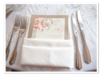 custom flourish blush gray reception wedding dinner menu