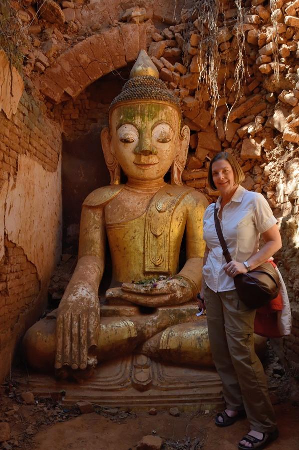 Buddha inside a stupa at Shwe Indein Pagoda