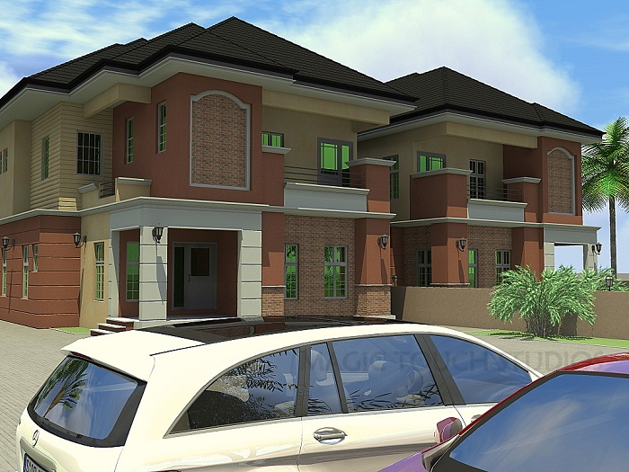 4 bedroom semi detached duplex residential homes and for Semi duplex house plans