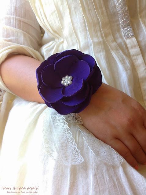 Bridesmaids wrist corsage royal purple