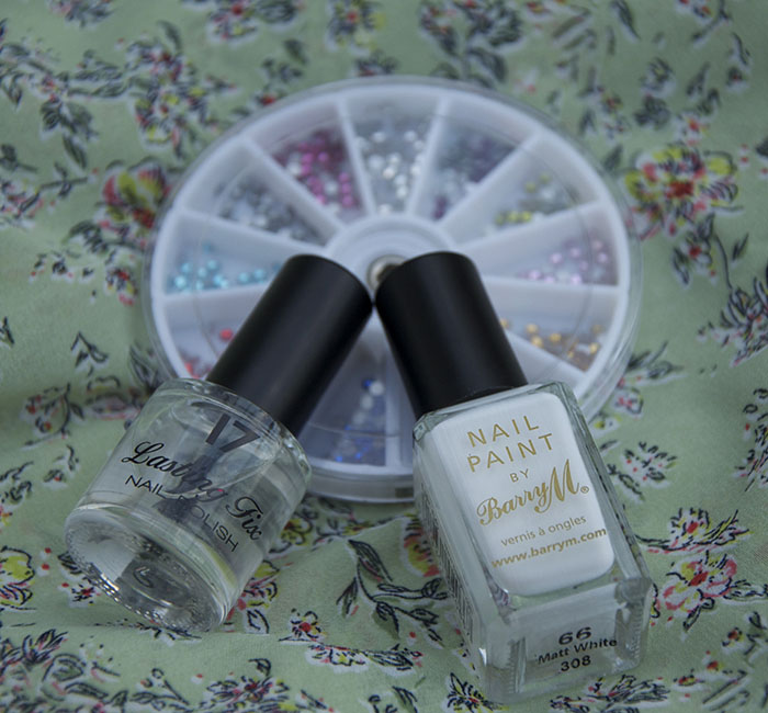 Barry M White Nail Varnish Nail Art Swaovski Gems