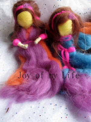 wool roving needle felted Fairy Dolls