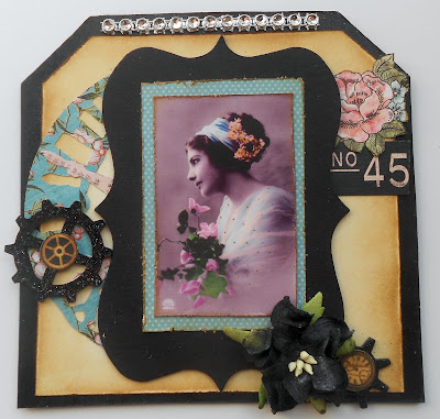 vintage style card with tim holtz and graphic 45
