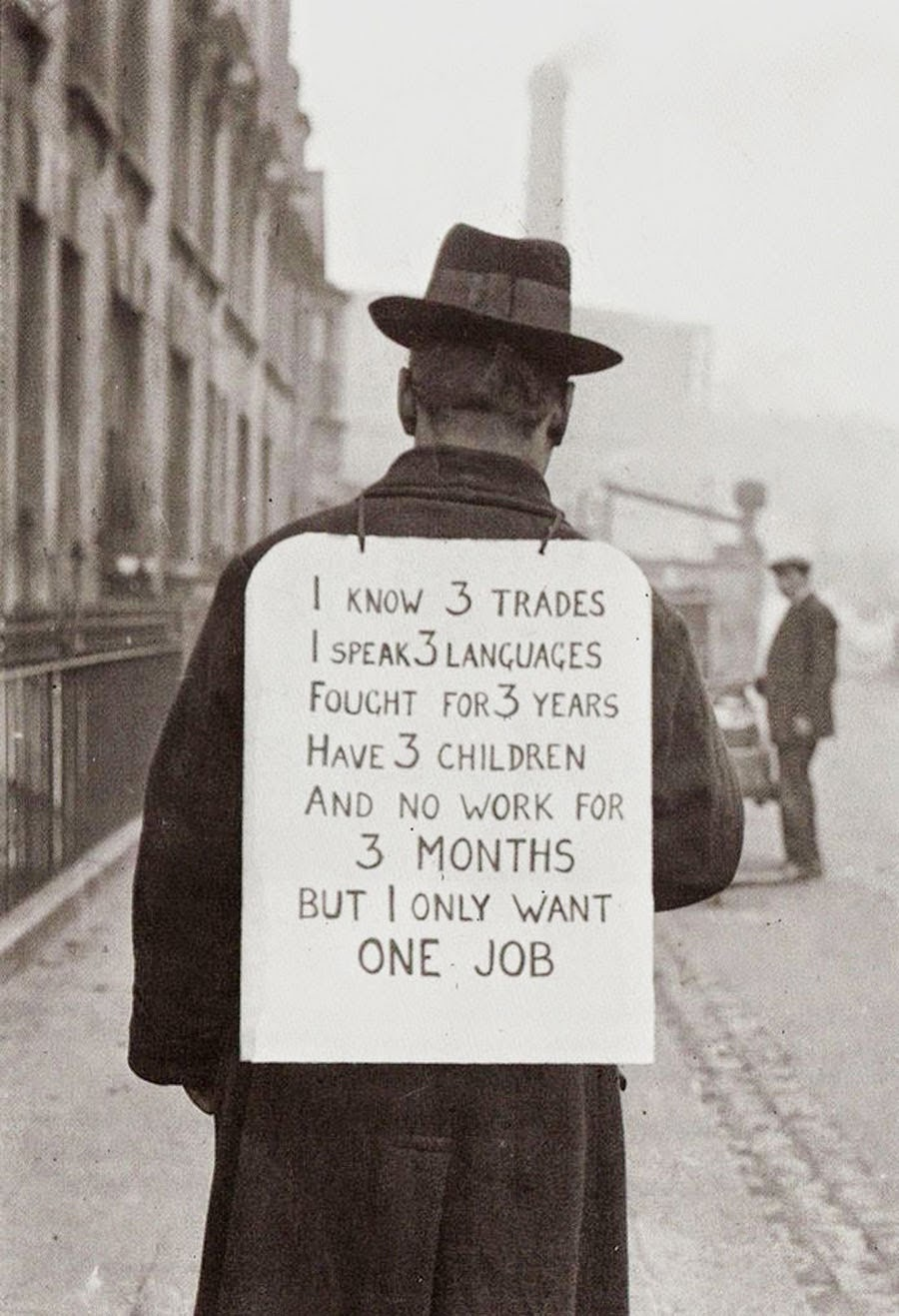 vintage everyday job hunting in the 1930s a period marked by a man wore this sign on his back hit the road traveling from place to place hoping to some work ca 1930