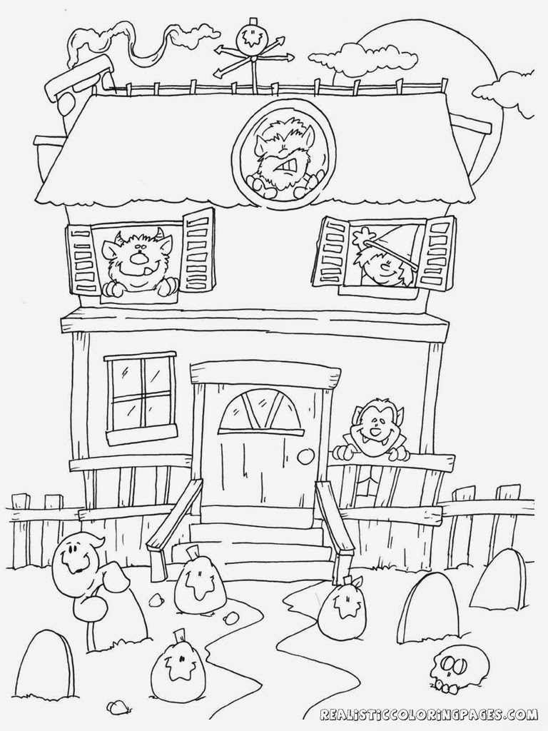 vampire house halloween coloring sheet