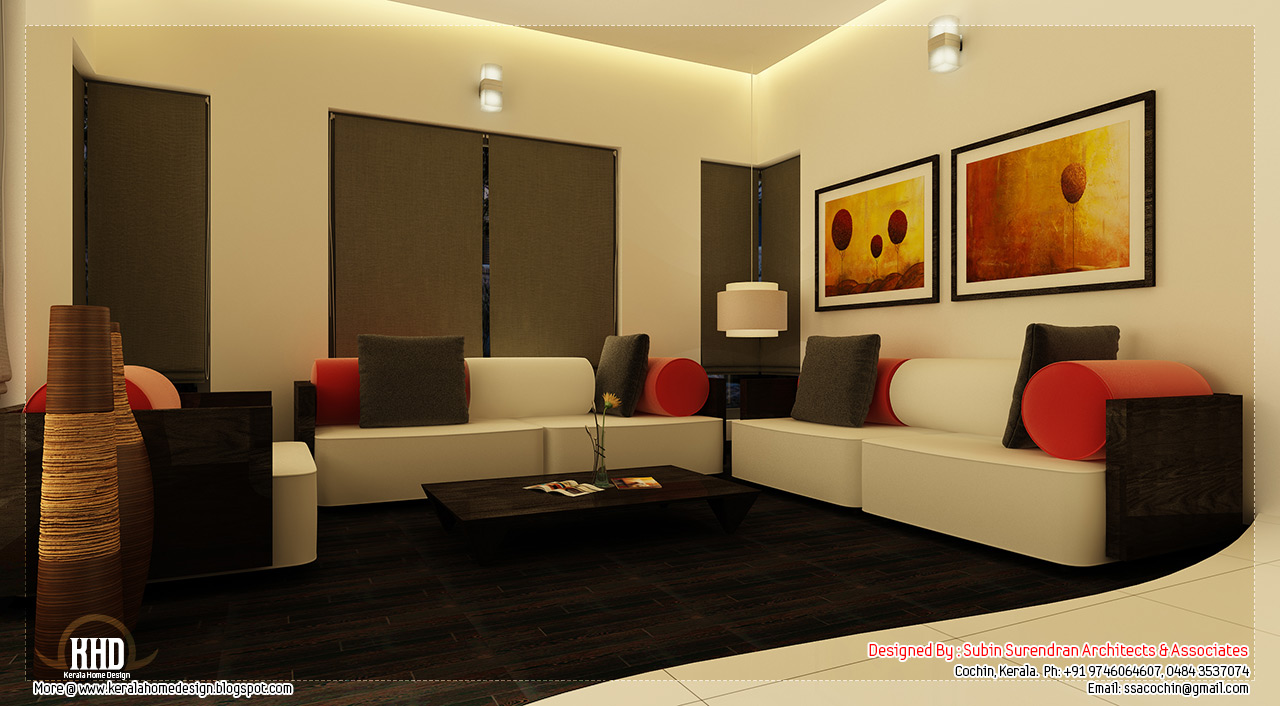 Beautiful home interior designs kerala home for Interior design of living room