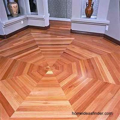 Piso interior de madera diseño octogonal