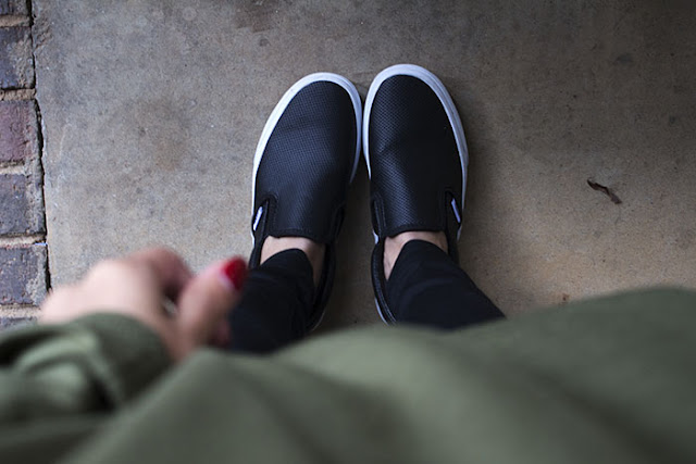 black perforated leather vans
