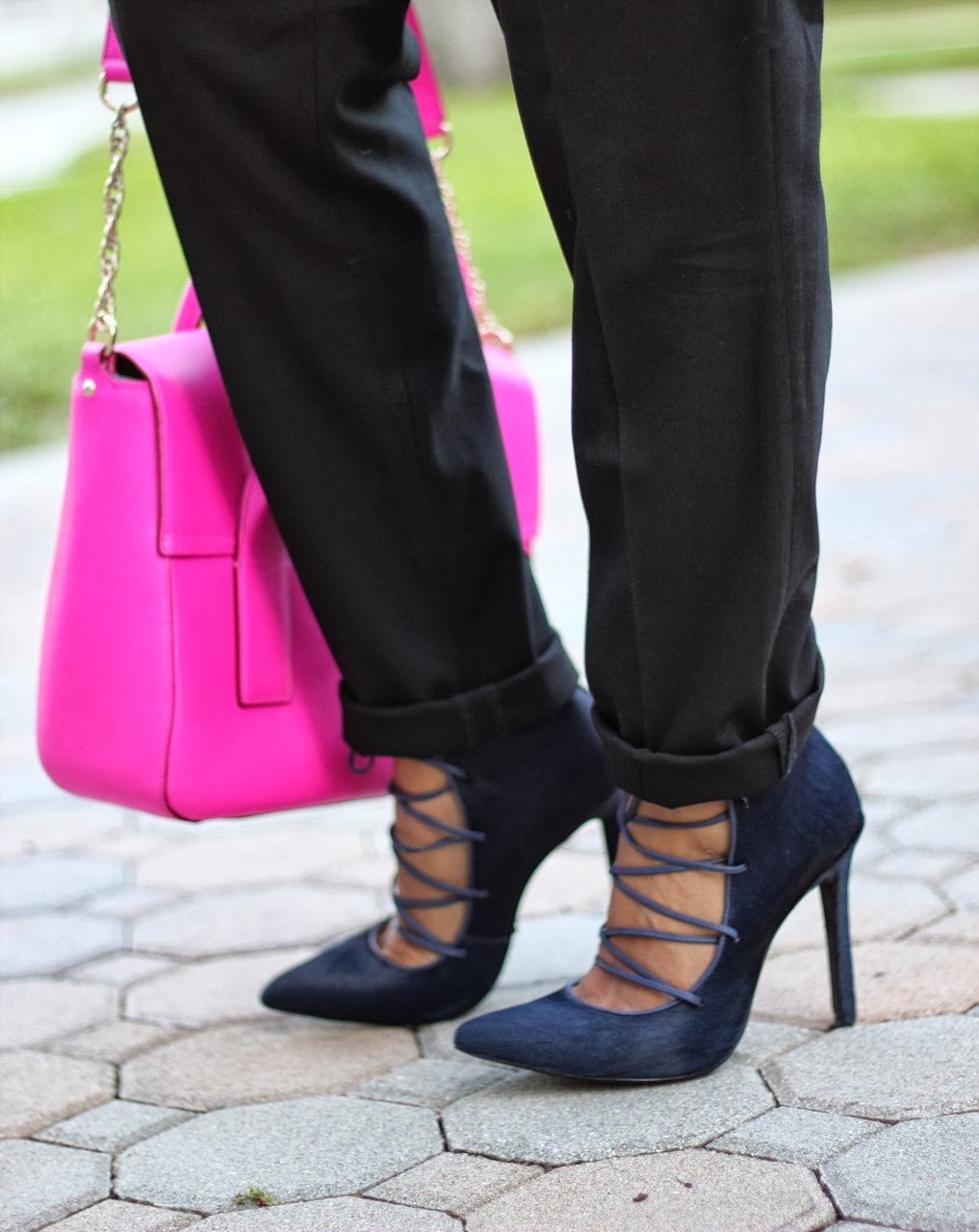 Gap plaid shirt ASOS pants shoes pumps lace up Schutz Alameda navy designer fur kate spade neon hot pink chloe sunglasses