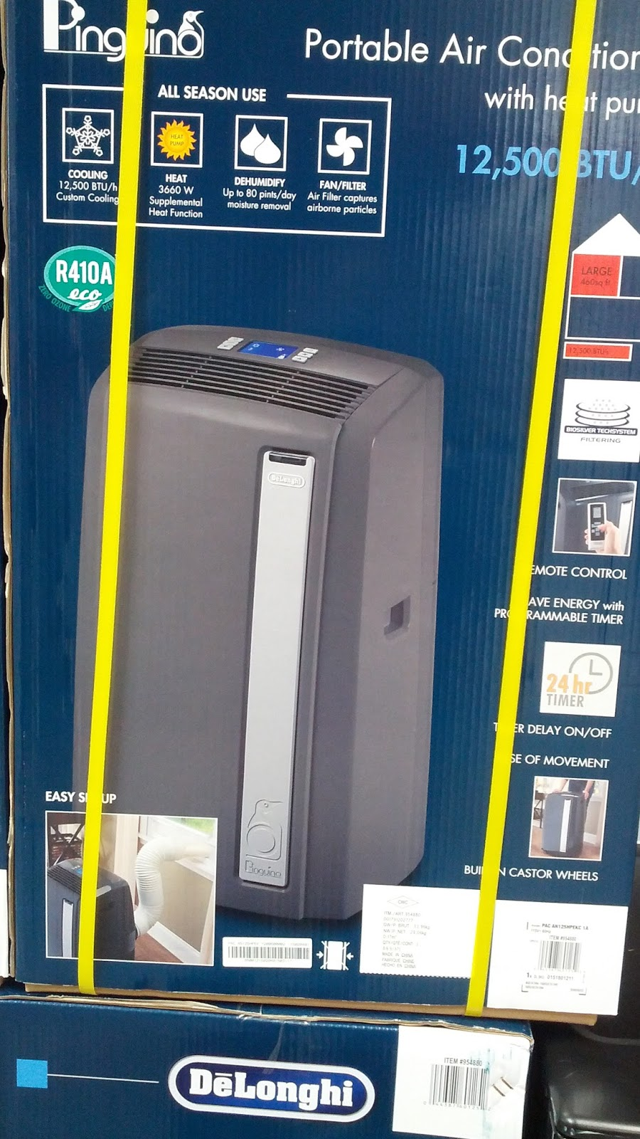 delonghi pinguino an125hpekc portable air conditioner costco weekender. Black Bedroom Furniture Sets. Home Design Ideas