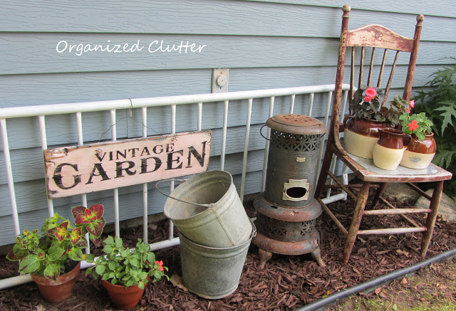 Futon back repurposed as a garden backdrop
