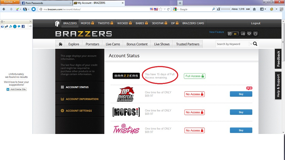 Brazzers user id and password