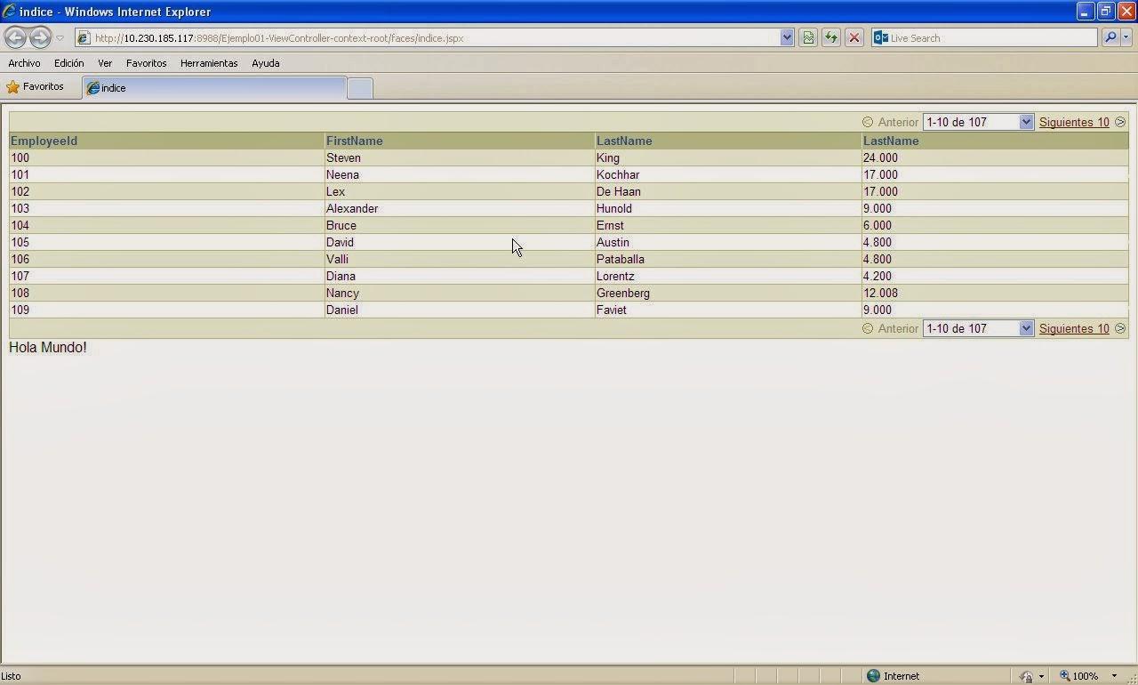 vista tabla navegador