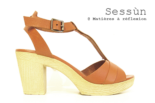 Sandales sabots Sessun chaussures cuir toffee Woodson