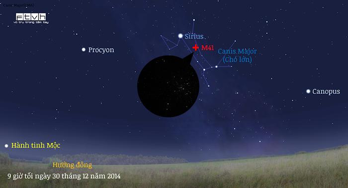Minh họa bầu trời hướng đông nam lúc 9 giờ tối ngày 30 tháng 12 năm 2014.