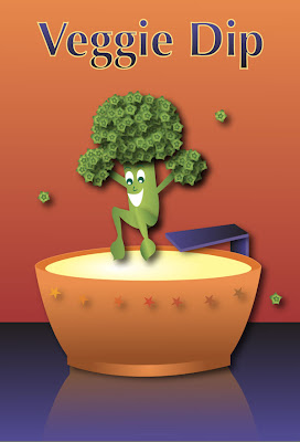 illustration of broccoli diving into a pool of dip