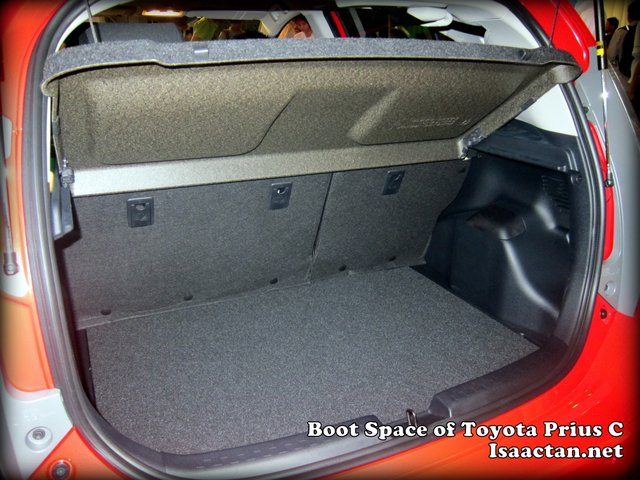 The Toyota Prius C's boot