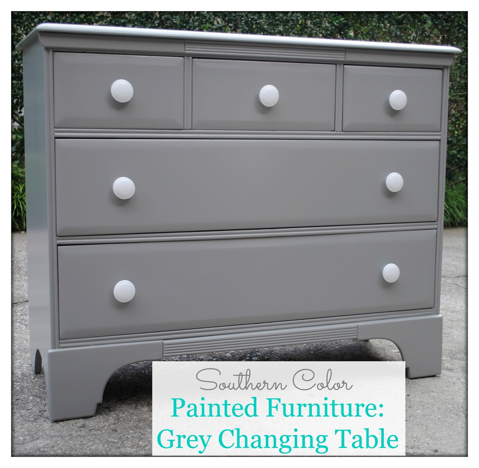 Southern color painted furniture grey changing table Best color to paint dresser