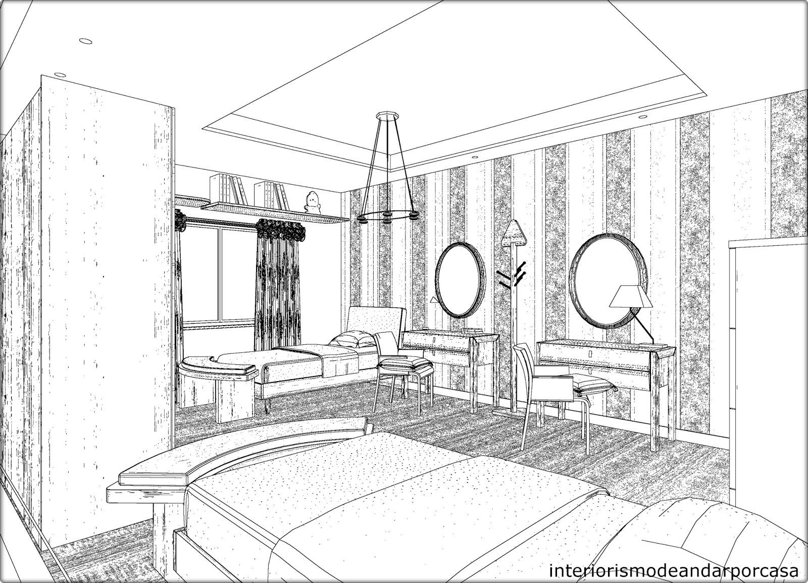 Interiorismo dormitorio de chicas - Habitacion para colorear ...
