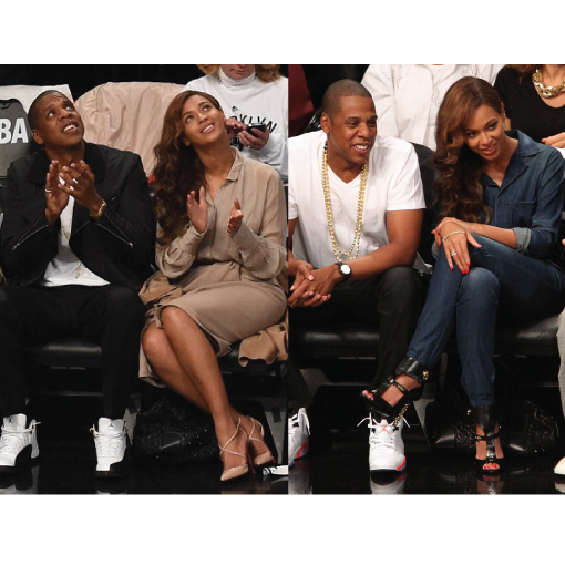 Beyonce and Jay-Z at Brooklyn Nets games