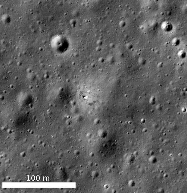 Luna 17, the Soviet Union spacecraft that carried the Lunokhod 1 rover to the surface. You can make out the rover tracks around the lander. LROC NAC image M175502049RE Image Credit: NASA/GSFC/Arizona State University