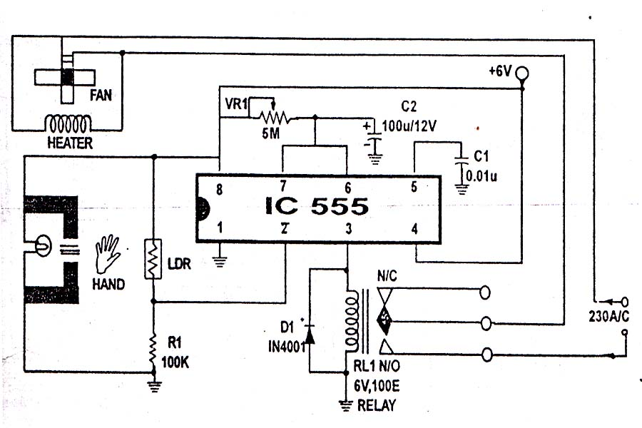 555 ic project electronic hand dryer rh 555icproject blogspot com Kenmore Dryer Heating Element Wiring-Diagram Samsung Dryer Wiring Diagram